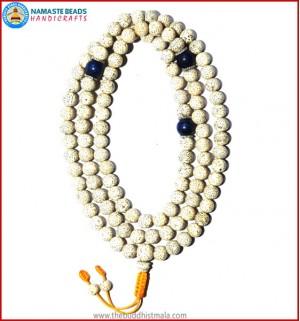 Lotus Seed Mala with Lapis Lazuli Spacer Beads