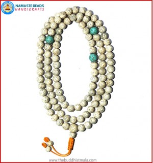 Lotus Seed Mala with Turquoise Spacer Beads