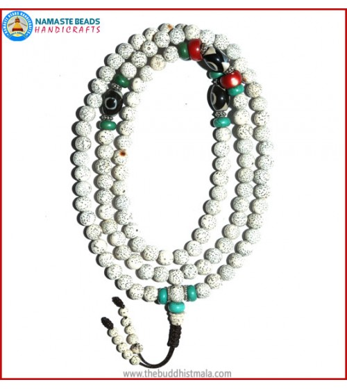 Lotus Seed Mala with Dzi Beads
