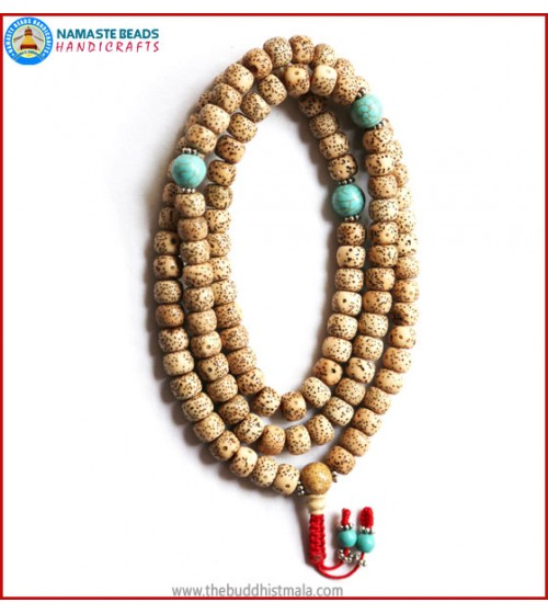 Flat Lotus Seed Mala with Turquoise Spacer Beads
