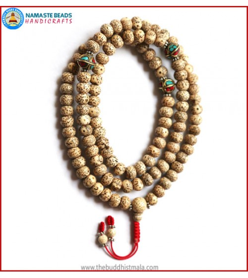 Lotus Seed Mala with Inlays Metal Beads