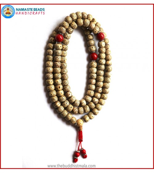 Flat Lotus Seed Mala with Coral Spacer Beads