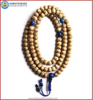 Flat Lotus Seed Mala with Lapis Lazuli Guru Bead