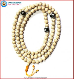 Lotus Seed Mala with Round Dzi Beads