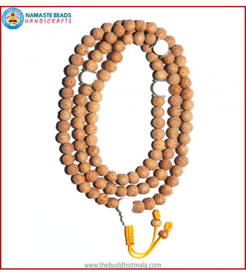 Raktu Seed Malal with White Conch Shell Guru Bead