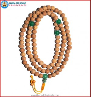 Raktu Seed Malal with Green Jade Guru Bead