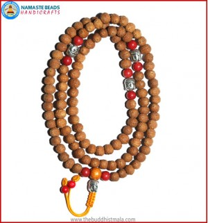 Raktu Seed Mala with Buddha Head Beads