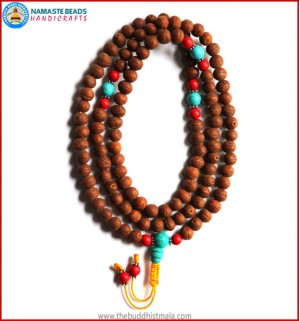 Raktu Seed Mala with Coral & Turquoise Spacer Beads