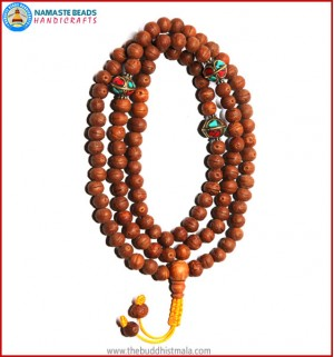 Raktu Seed Mala with Inlays Metal Beads