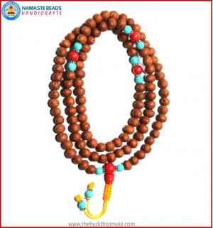 Raktu Seed Mala with Turquoise & Coral Spacer Beads