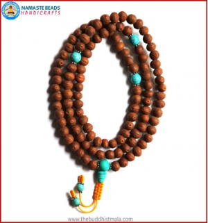 Raktu Seed Mala with Turquoise Spacer Beads