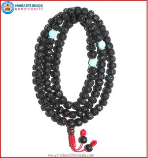 Smooth Dark Rudraksha Seed Mala with Turquoise Beads