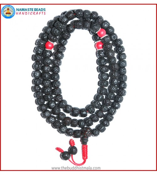 Smooth Dark Rudraksha Seed Mala with Coral Beads
