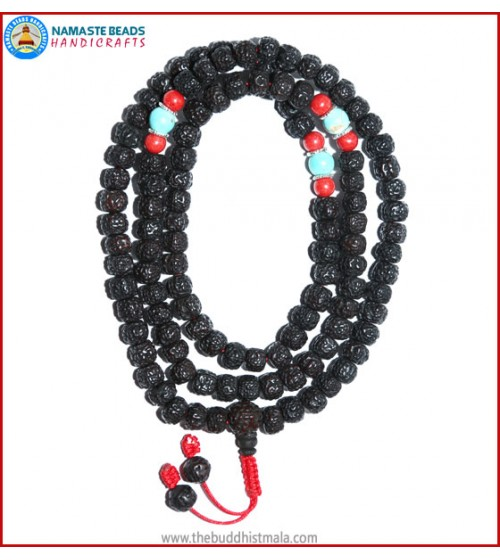 Smooth Dark Rudraksha Seed Mala with Coral & Turquoise Beads