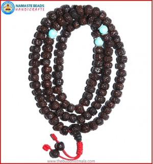 Smooth Dark Brown Rudraksha Seed Mala with Turquoise Beads