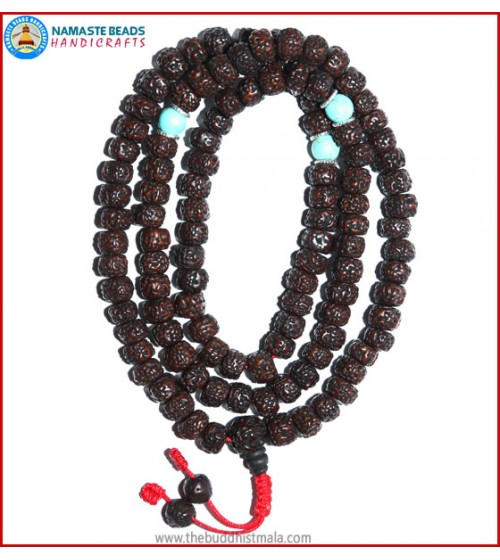 Smooth Dark Brown Rudraksha Seed Mala with Turquoise Beads