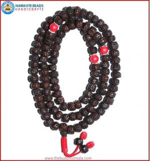 Smooth Dark Brown Rudraksha Seed Mala with Coral Beads
