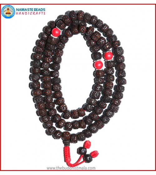 Smooth Dark Brown Rudraksha Seed Mala with Coral Beads