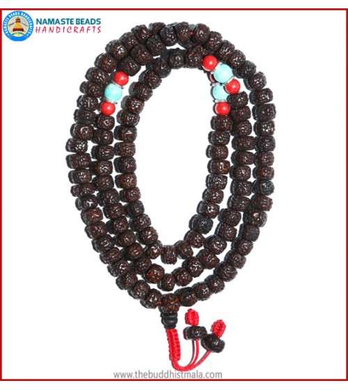 Smooth Dark Brown Rudraksha Seed Mala with Coral & Turquoise Beads