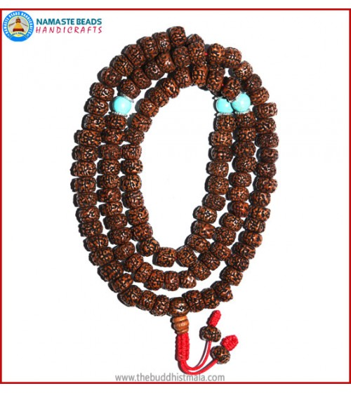Smooth Brown Rudraksha Seed Mala with Turquoise Beads