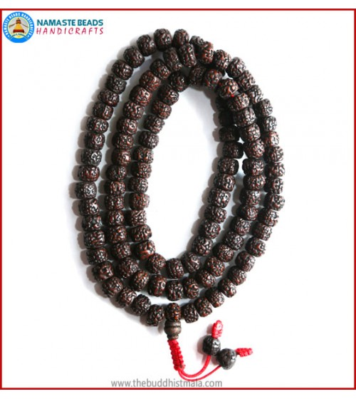 Smooth Dark Brown Rudraksha Seed Mala