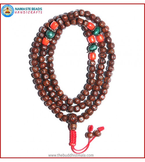 Smooth Brown Rudraksha Seed Mala with Coral & Turquoise Beads