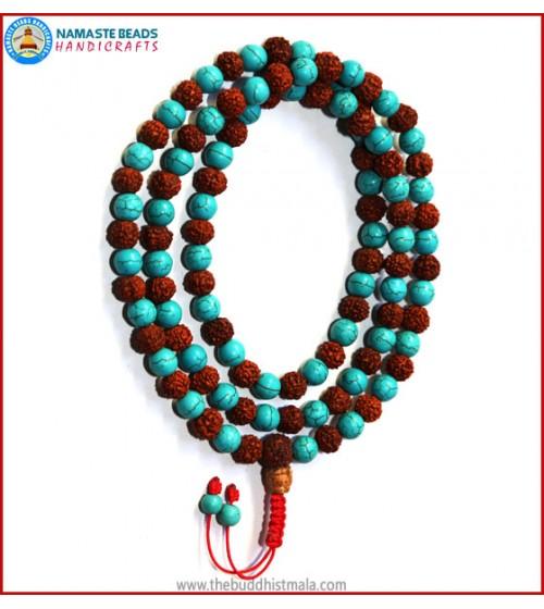 Turquoise & Rudraksha Seed Mala