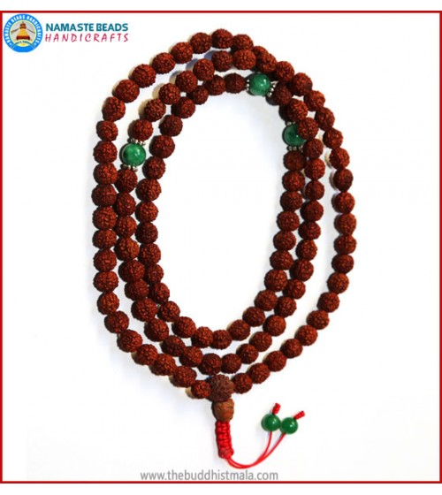 Rudraksha Seed Mala with Green Jade Spacer Beads
