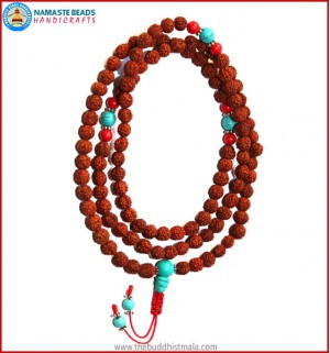 Rudraksha Seed Mala with Turquoise Guru Bead