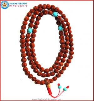 Rudraksha Seed Mala with Turquoise Spacer Beads