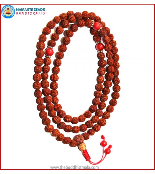 Rudraksha Seed Mala with Coral Spacer Beads