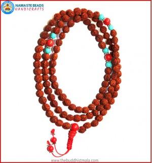 Rudraksha Seed Mala with Coral Guru Bead