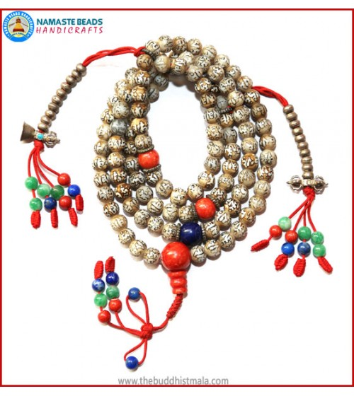 Special Designed Mantra Carved Conch Shell Mala