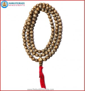 Mantra Carved Conch Shell Mala with Tassel