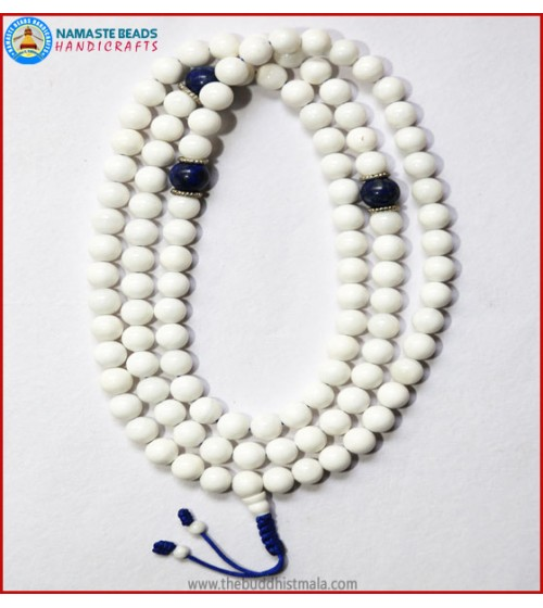 White Conch Shell Mala with Lapis Lazuli Beads