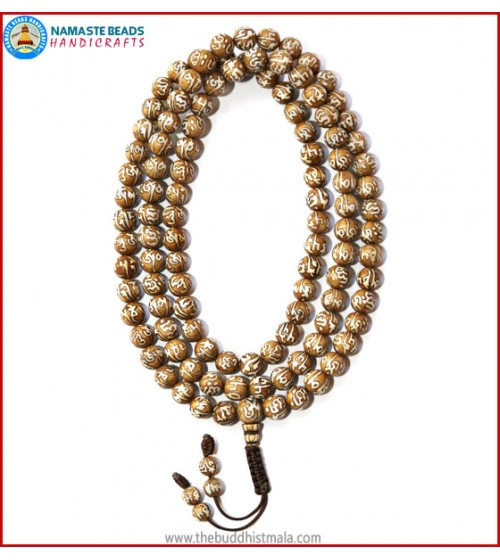 Mantra Carved Conch Shell Mala