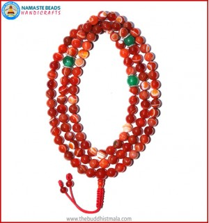 Red Agate Mala with Jade Spacer Beads