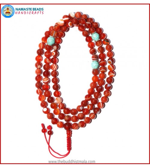 Red Agate Mala with Turquoise Spacer Beads