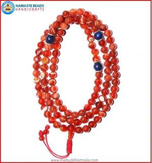 Red Agate Mala with Lapis Lazuli Beads