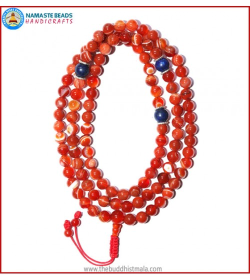 Red Agate Mala with Lapis Lazuli Beads