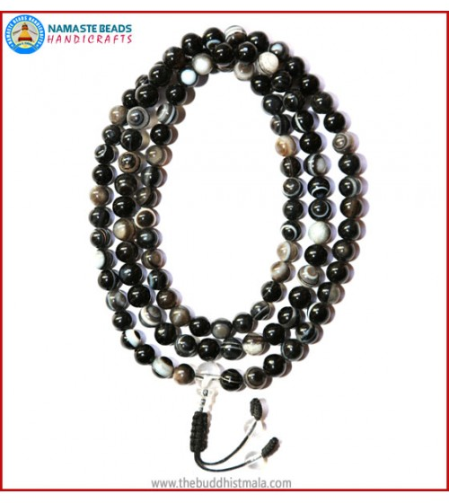 Black Agate Mala with Crystal Guru Bead