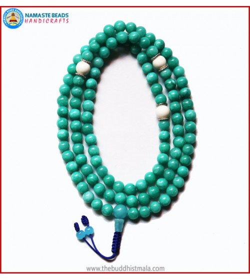 Amazon Jade Stone Mala with Conch Shell Spacer Beads