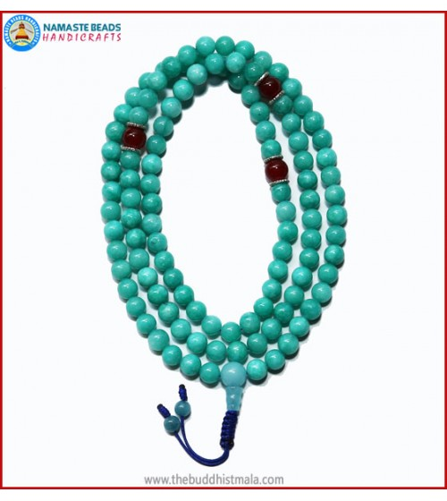 Amazon Jade Stone Mala with Carnelian Spacer Beads
