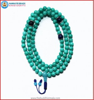 Amazon Jade Stone Mala with Lapis Lazuli Spacer Beads