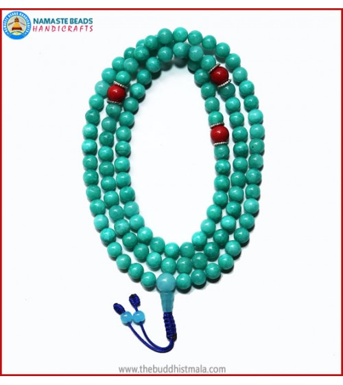 Amazon Jade Stone Mala with Coral Spacer Beads