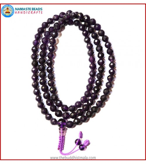 Diamond Cutting Amethyst Mala