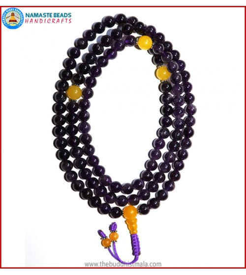 Amethyst Mala with Yellow Jade Guru Bead
