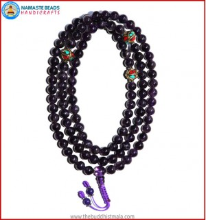 Amethyst Mala with Metal Inlays Spacer Beads