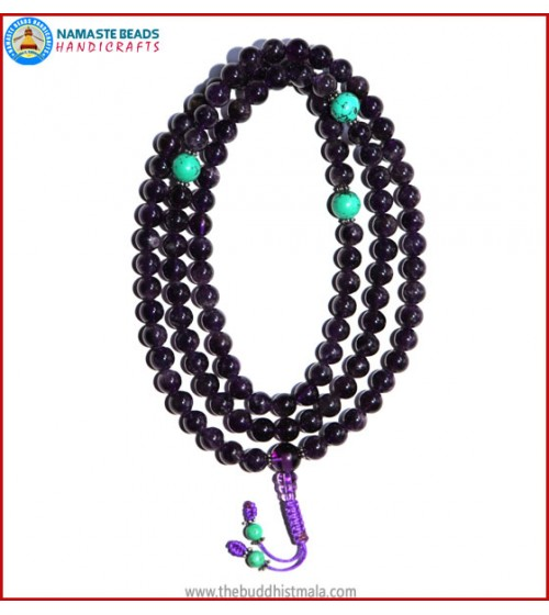 Amethyst Mala with Turquoise Spacer Beads