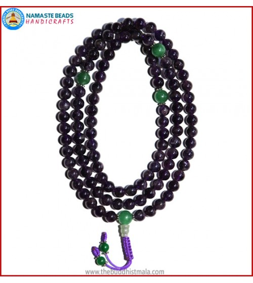 Amethyst Mala with Green Jade Guru Bead